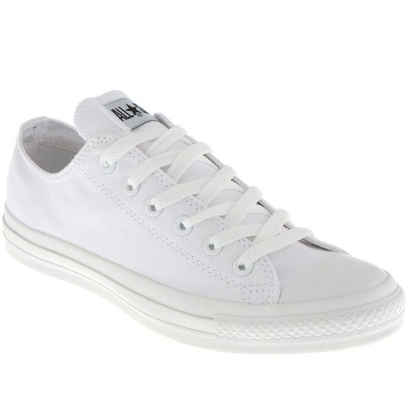 Converse All Star Ox Low White Mono Canvas Exclusive Trainers Shoes ❤ liked on Polyvore featuring shoes, sneakers, low canvas shoes, converse sneakers, white shoes, converse footwear and converse trainers