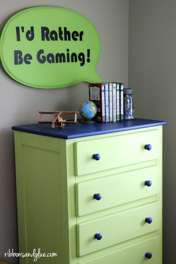 DIY Tween Boy Dresser Makeover. Update a Kid Dresser in a Tween Gamer Room using Valspar Kiwi Slice paint from Ace Hardware.