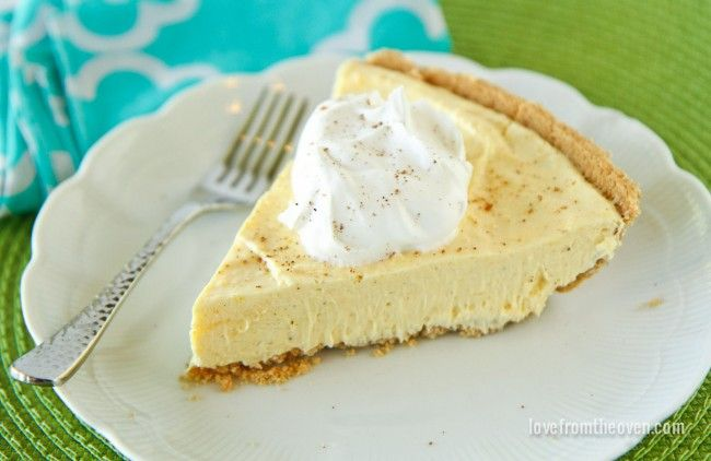 Easy Eggnog Pie Simple cool-whip cream pie!  Ingredients  1 3.9 oz package of vanilla instant pudding 1 & 1/4 cups cold eggnog 1/3 cold cup milk 1/2 tsp nutmeg 1 cup COOL WHIP Whipped Topping, thawed 1 graham cracker pie crust  Read more at http://www.lovefromtheoven.com/2014/11/13/easy-eggnog-pie/#Ri5SYS6j4Gg1pDoo.99