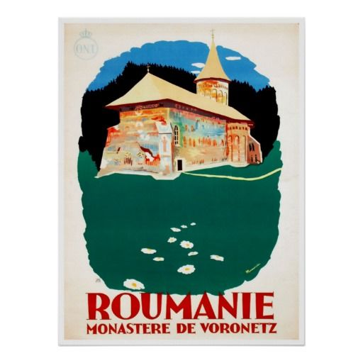 Romania Art Vintage Travel Poster. Travel to Romania, it is beautiful this time of year.