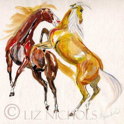 """Stallions Fighting"" primitive watercolor by Liz Nichols"