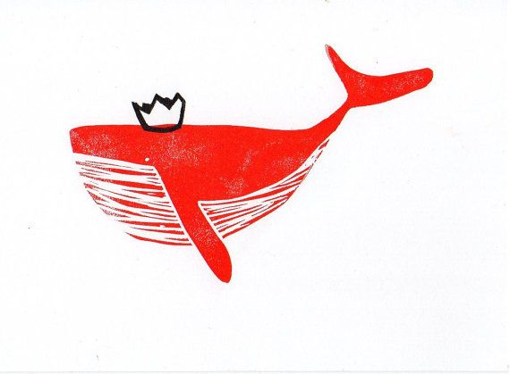 Whale with Crown linocut print 7 x 5 by WeThinkSmall on Etsy, $10.00