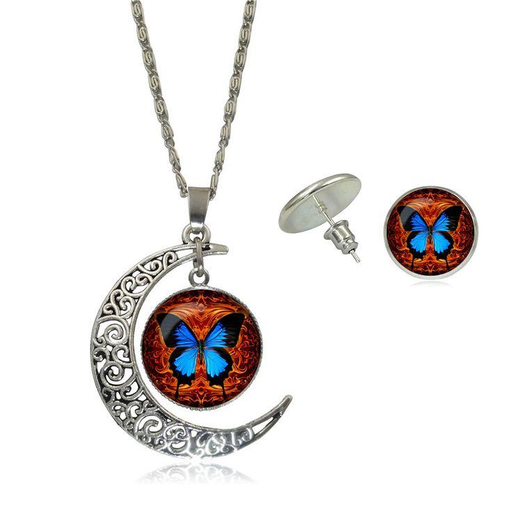 Ювелирных изделий бабочки стекло кабошон искусства фотографии посеребренная луна ожерелье стад серьги женщин заявление ювелирных изделий