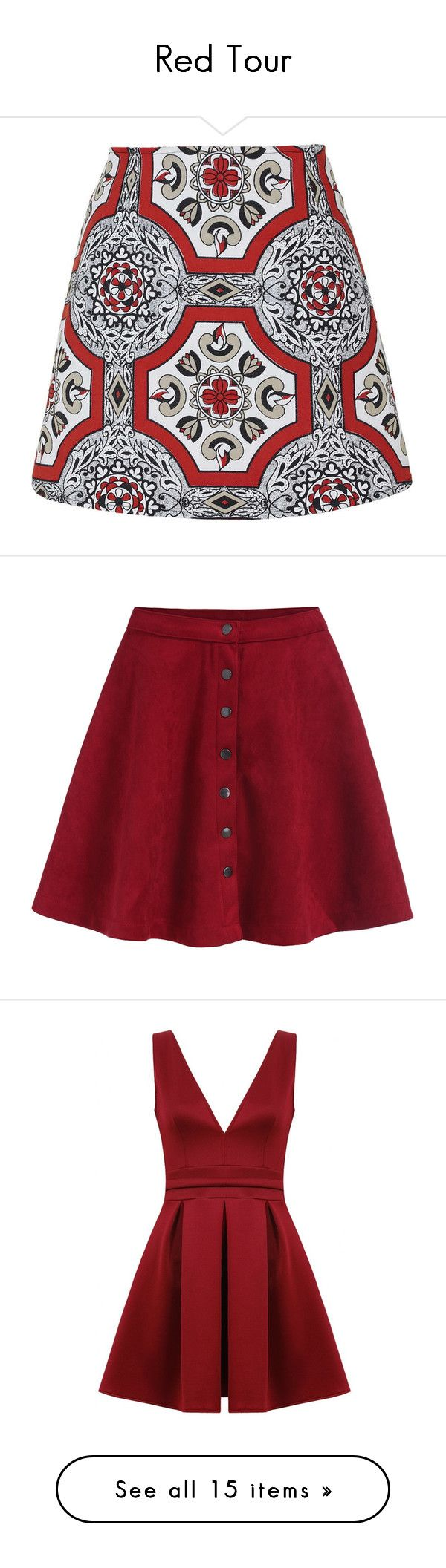 """Red Tour"" by purblex ❤ liked on Polyvore featuring skirts, bottoms, red, red skirt, high waisted skirts, red knee length skirt, a line skirt, red high waisted skirt, saia and red flare skirt"