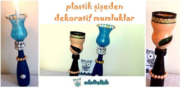 Plastik  Şişeden Mumluk-Şamdan Yapımı - Ada Owlish