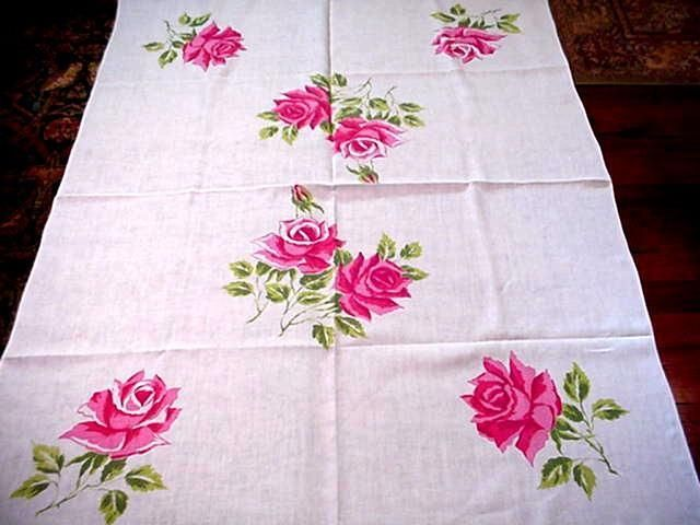 Vintage HARDY CRAFT Label PINK ROSES Large Tablecloth Modern FLORAL Easter  Charm