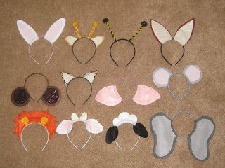 Ashley's Craft Corner: Animal Ears Headbands    Sheep, Cows, Donkey for Christmas program