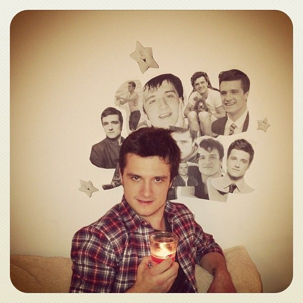 """So glad Josh Hutcherson isn't creeped out by the shrine @Noel Bass wells and I made."" - John Milhiser http://instagram.com/p/g6oSlRlnoe/"