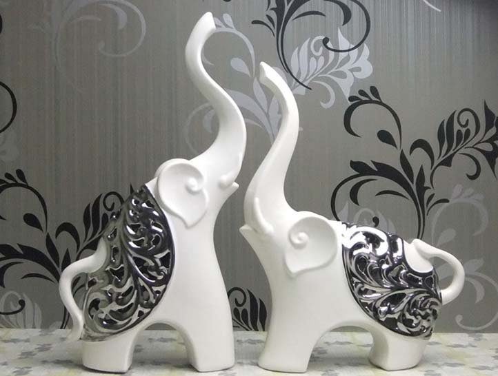Concise Line Of The Ceramic Elephant Figurine Looks More Elegant And Generous Delicate Silver Process