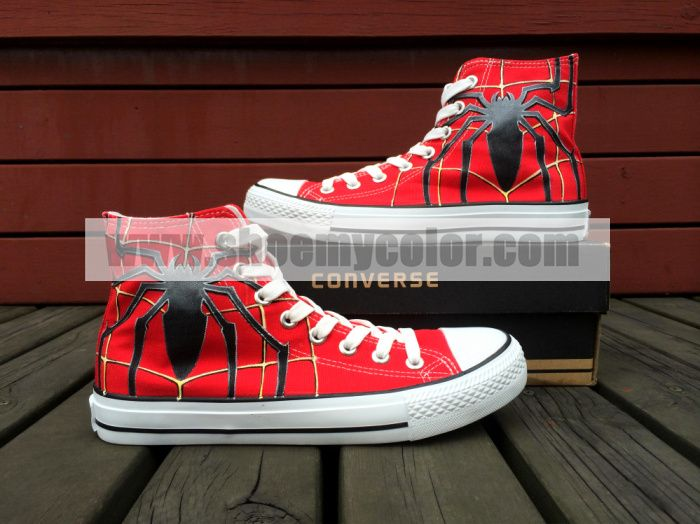 db7d28a2e942 Spiderman High Top Red Hand Painted Converse Canvas Women Men Shoes ...