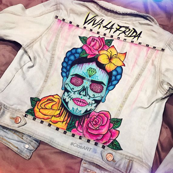 | PROMOCODE: CLOEART | Custom hand painted denim jacket featuring this Frida Kahlo Sugar Skull. All jackets are made to order and custom designs are available upon request. www.CloeART.com