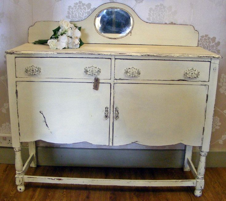 Antique sideboard painted with Autentico Chalk Paint in Antique White ...