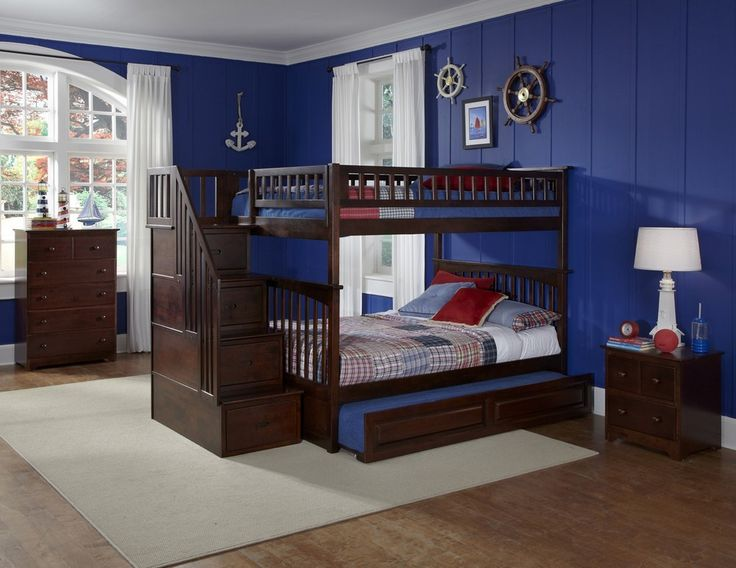 Weekly furniture deals sales, furniture discounts, coupons, free shipping on bedroom, kitchen, dining tables, bathroom, home decor, living room at eFurnitureMart    Atlantic Furniture Columbia Staircase Bunk Bed w/ Trundle in Antique Walnut - AB55834  Constructed in solid Eco-friendly Hardwood the Columbia Staircase Bunk Bed with Trundle in Antique Walnut has a built in modesty panel and can accommodate under bed storage drawers or a trundle. Wit
