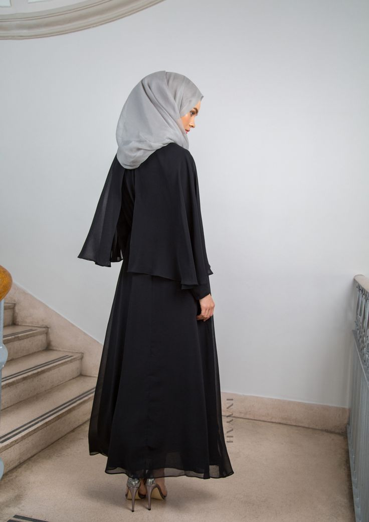 Channel elegance, style and sophistication with this classic maxi dress. Also available in colour Cinnamon and can be bought online and in-store. #Black Cape Maxi Dress + Feather Grey Silk Chiffon #Hijab  - www.inayah.co