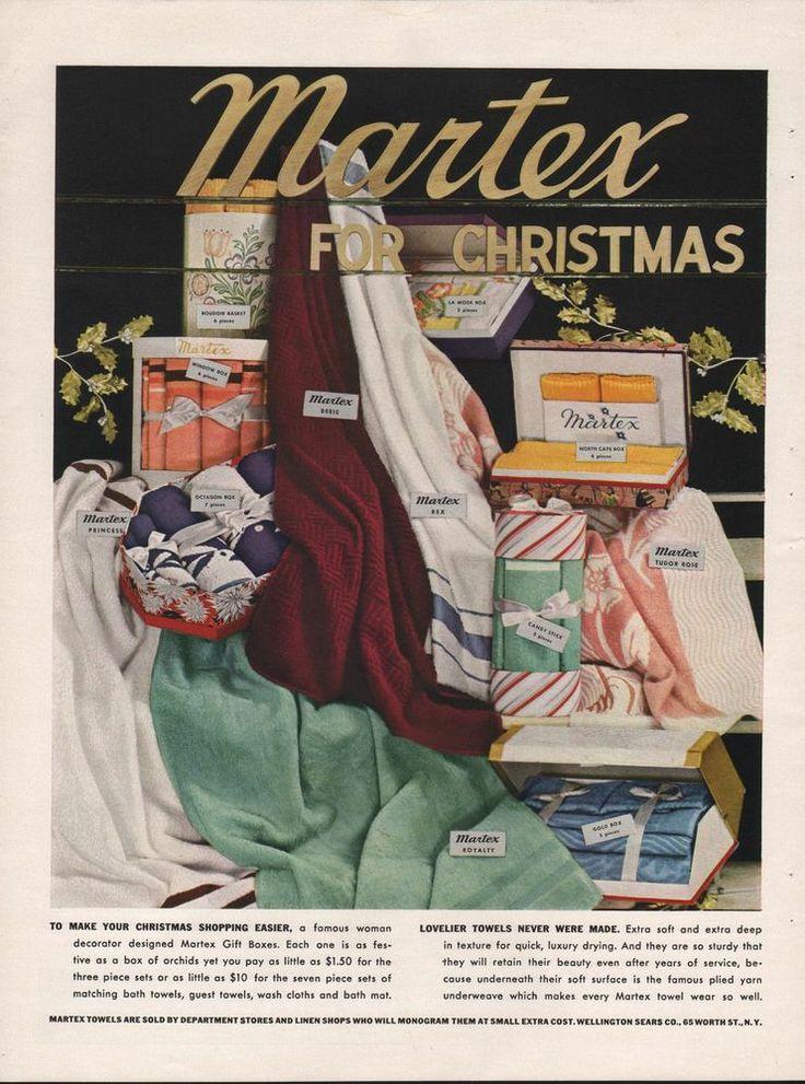 1939 VINTAGE MARTEX TOWELS FOR CHRISTMAS PRINT AD