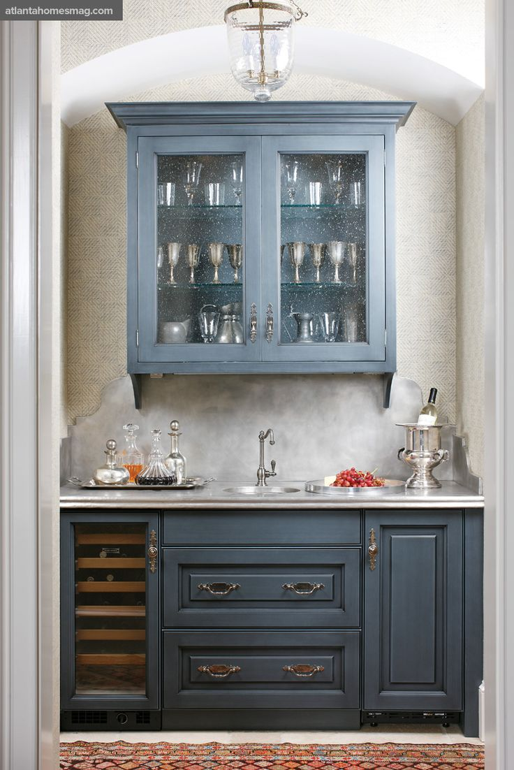 Blue Kitchen Cabinets Transitional Atlanta Homes Lifestyles