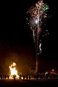 bonfire night with fireworks