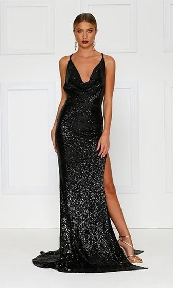 fc7c9e8fb8c City Sparkler Black Sequin Spaghetti Strap Cowl Neck Backless Side Slit  Maxi Dress Gown