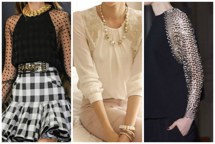 Tops suitable for the apple shape body. Black and white blouse. Learn how to dress your apple shape body >>> http://justbestylish.com/how-to-dress-the-apple-figure/2/