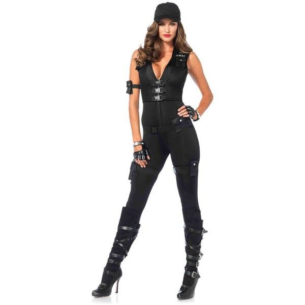 Sexy SWAT Commander Costume ($65) ❤ liked on Polyvore featuring costumes, swat halloween costume, sexy halloween costumes, white halloween costumes, white costumes and sexy costumes