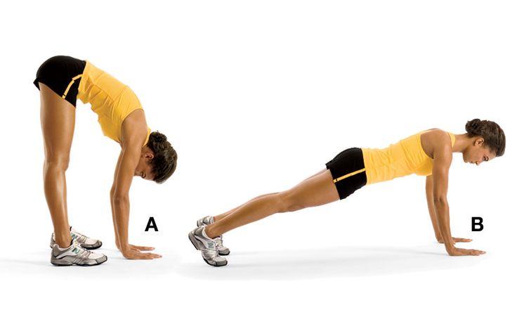 Inchworm Stretch- Eller yere dokununca ayaklardan 8-12 mesafe uzak olmalı (A).  Ellerinle ileri doğru yürüyerek sınav pozisyonuna geç (B).  Sonra ellerinle tekrar geri geri git. Sekiz tekrarlık iki set yapmalısın.  İpucu: Vücut, topuklardan başına kadar dümdüz olmalı.