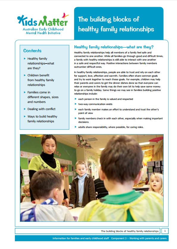 Top Tips: The building blocks of healthy family relationships.  Information sheets for families and ECEC staff.