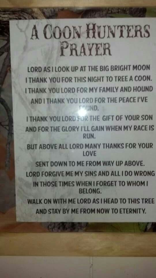 Coon hunters prayer