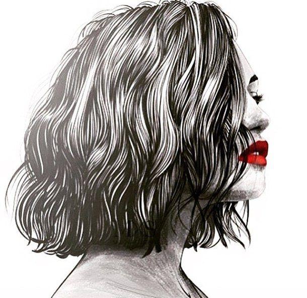 искусство, чёрные волосы, короткие волосы