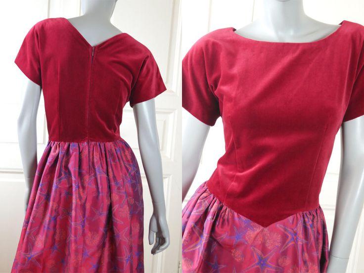 Hungarian Vintage Evening Dress. Red Velvet Bodice Cerise Pink Blue Seascape Print Satin Skirt, European Hostess Maxi Dress: 10 US, 14 UK by YouLookAmazing on Etsy