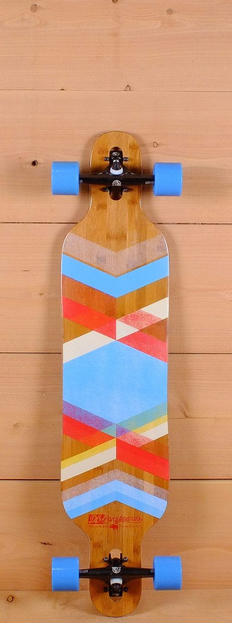 "DB Prebuilt 40"" Pioneer Bamboo Fiberglass Blue Drop Through Longboard"