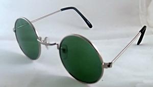 Dark Green Round Retro Sunglasses Silver Frame