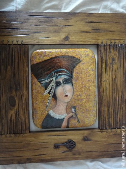 Картина  на дереве и в деревянной раме в стиле готического наива
