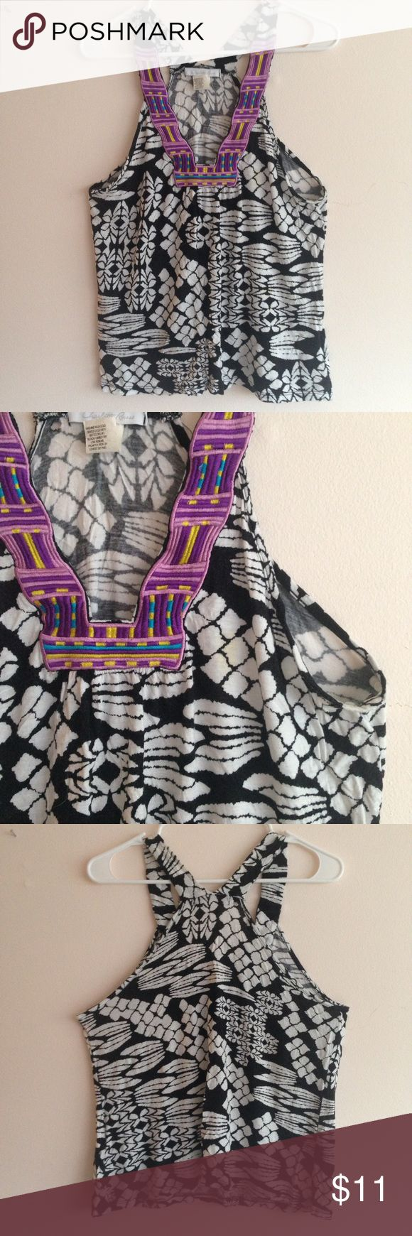 Abstract Pattern Top w/ Embroidered Collar Your OOTD will stand out with this vibrant tank complete with statement collar.  Length: approx. 21 inches  Width: approx. 18 inches at chest  Material: 95% Rayon, 5% Spandex EUC  Empire waist, half zipper on side   $5 off your 1st purchase! Use promo code NVMES. Purchase doesn't have to be from my closet. Charlotte Russe Tops Tank Tops