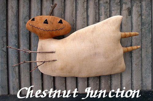 Flying Ferda EPATTERN - primitive country halloween fall pumpkin ghost cloth doll craft digital download sewing pattern -PDF - 1.99