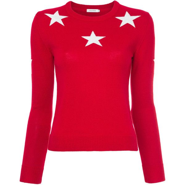 Guild Prime star motif sweater ($139) ❤ liked on Polyvore featuring tops, sweaters, red, red sweater, red top, rib top, star print top and ribbed sweater