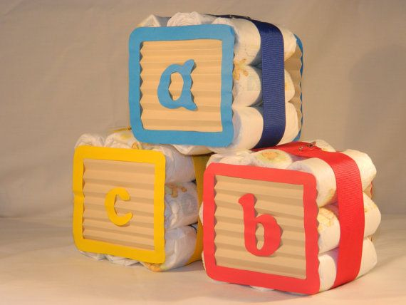 Diaper Blocks Mini Diaper Cake ABC 3 block by BusyBDesignCreations
