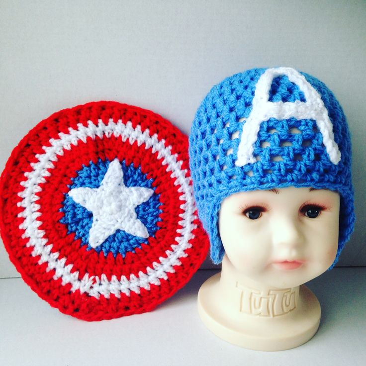 Crochet Captain America shield, shoe & hat set, crochet baby photo set, novelty, Marvel,  handmade, baby shower, photo prop, fancy dress by MummysLittleGemUK on Etsy