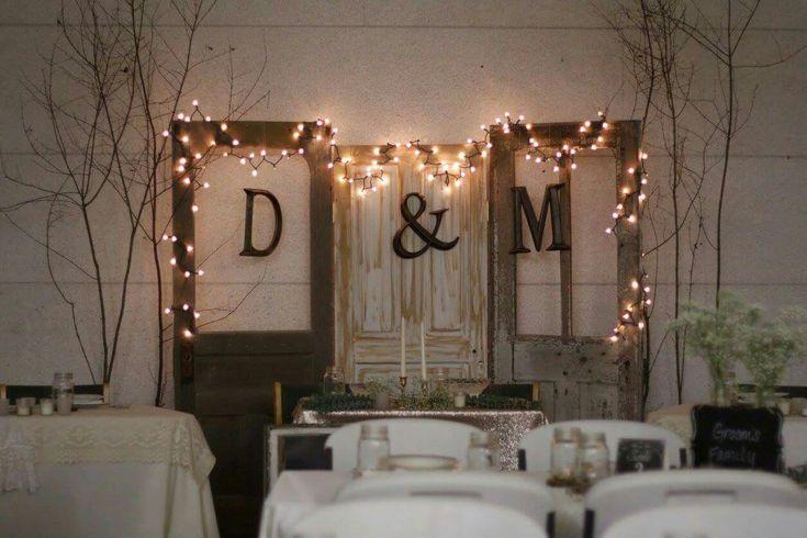 Vintage Rustic Glam Woodland BOGO wedding head table backdrop door display