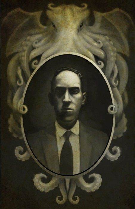 HP Lovecraft.   .   .   .   . Giger's Necronomicon is named for H. P. Lovecraft's Necronomicon, a fictional grimoire Lovecraft invented and used as a plot device in his stories. Lovecraft's Necronomicon was a compendium of pre-human lore compiled by the fictional mad Arab Abdul Alhazred, circa 700