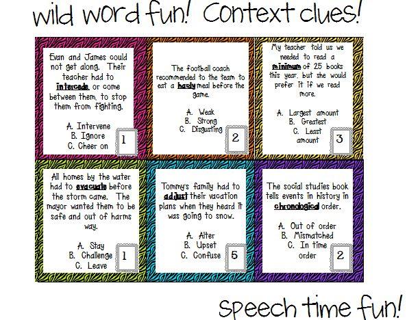 Speech Time Fun: Wild Word Fun! Context Clues! | Literacy | Speech ...