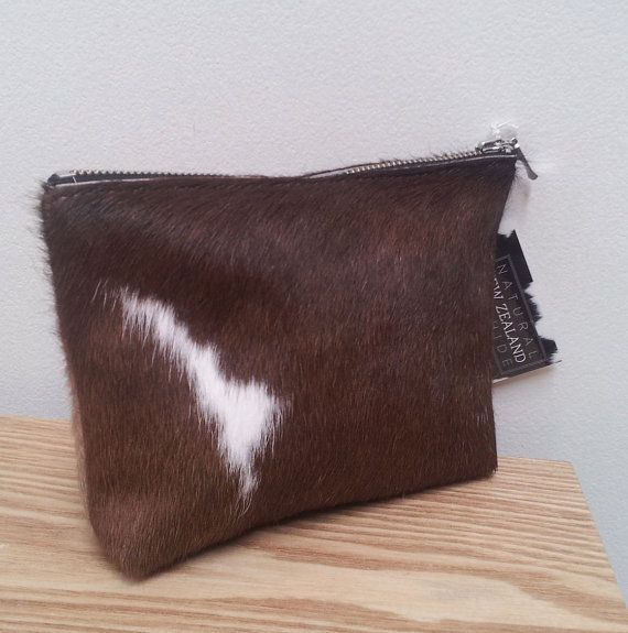 Cowhide leather purse (pouch) Brown and White - pony hair