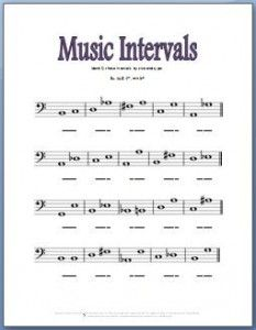 Free Printable Music Theory Worksheets for learning music intervals.
