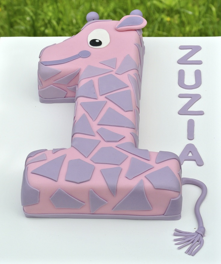 Giraffe first birthday cake for a girl