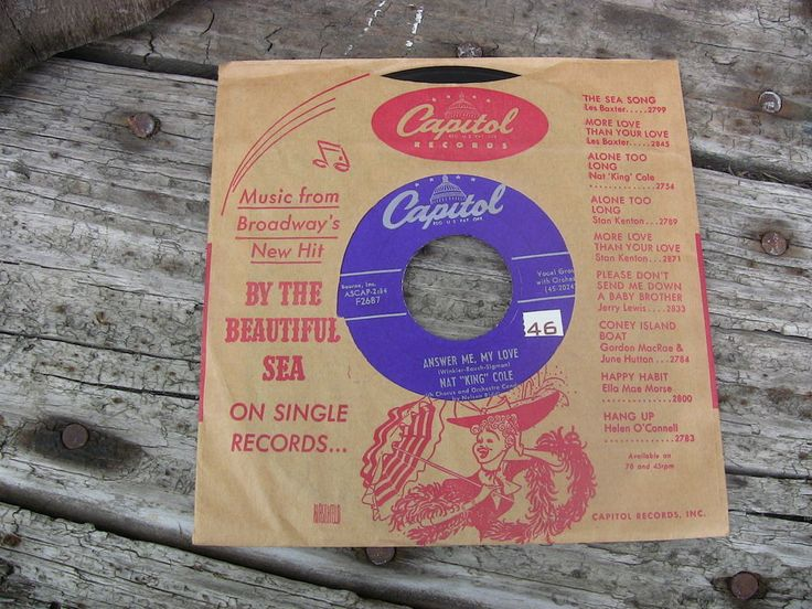 Vintage Single 45 Record Nat King Cole Answer Me, My Love Capitol Records F2687 #1950s