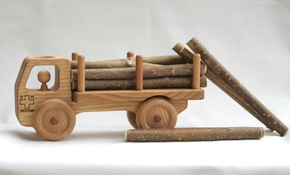 Wooden Toy Truck - Wooden Car  - Waldorf toy - Solid Chestnut wood