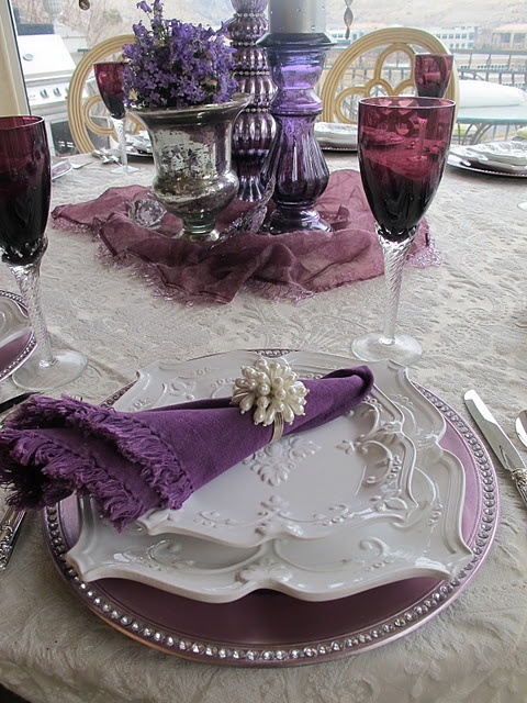 Purple Elegance Tablescape-Sources:  Plates - Tai Pan  Goblets - Spiegel catalog (years ago)  Tablecloth and topper - homemade  Chargers - Z Gallerie  Silver plated flatware - Horchow  Napkin rings - Bloomingdales Home  Purple mercury glass and candlestick - Home Goods  Candle - Home Goods