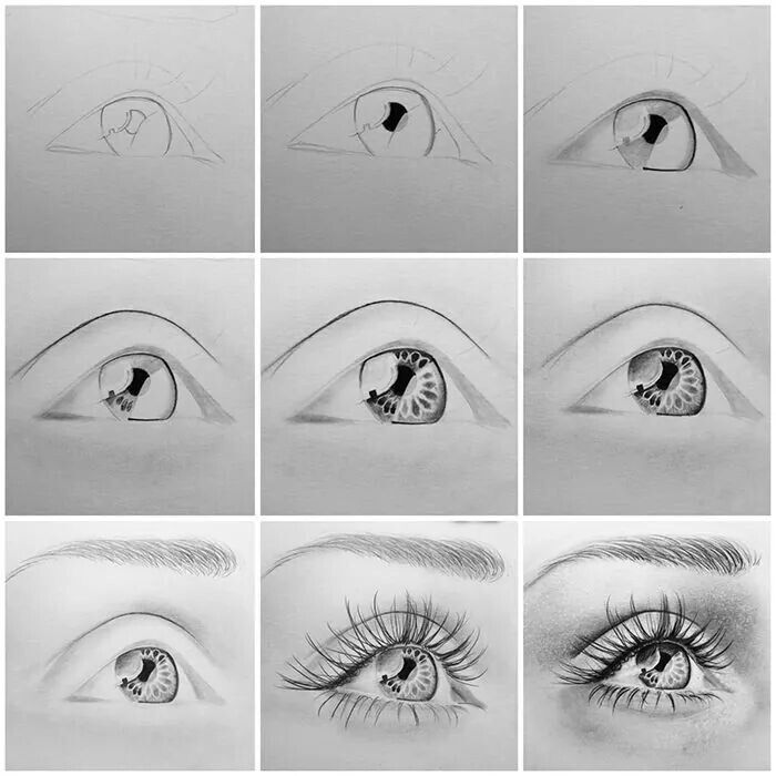 how to draw a eye crying step by step