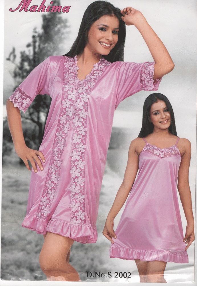 NEW LADIES SILKY SATIN SLIP CHEMISE BABYDOLL WOMENS NIGHTDRESS WITH NIGHT ROBE in Clothes, Shoes & Accessories, Women's Clothing, Lingerie & Nightwear | eBay