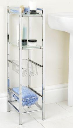 Slim-Line Storage Tower - Bathroom Storage Cabinets   Bathroom Shelving & Drawer Units