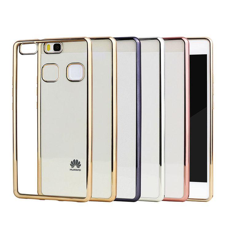 Plating cubierta de la caja del teléfono para huawei p9 lite de silicona ultra fino suave transparente tpu para huawei p9 lite oro de lujo